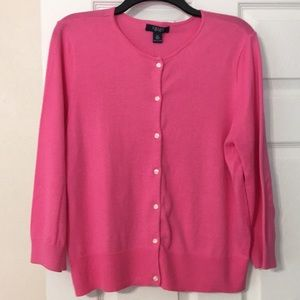 Chaps pink 3/4 sleeve cotton cardigan sweater